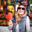 Funky teen girl in love — Stock Photo