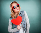 Funky girl in love — Stock Photo