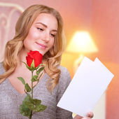 Romantic woman in Valentine day — Stock Photo