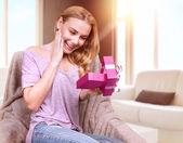 Happy surprised woman — Stock Photo