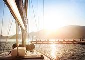 Sailboat on sunset — Stock Photo