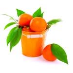 Bucket of fresh mandarins — Stock Photo