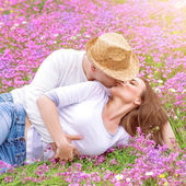 Romantic kisses outdoors — Stock Photo