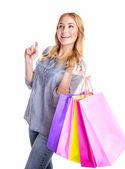 Mujer alegre con bolsas de papel — Foto de Stock
