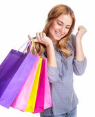 Happy shopper girl — Stock Photo