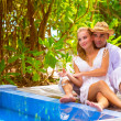 Happy couple on romantic resort — Stock Photo