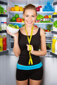 Girl with healthy food — Stockfoto