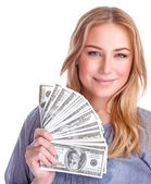 Happy rich girl — Stock Photo