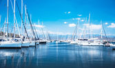 Sail boat harbor — Stock Photo