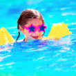 Cute little baby swiming in the pool — Stock Photo #45677341
