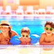 Happy family in aquapark — Stock Photo