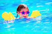 Cute little baby swiming in the pool — Stock Photo
