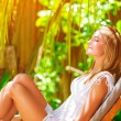 Cute female on tropical resort — Stock Photo #46057333