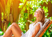 Cute female on tropical resort — Stock Photo