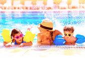 Happy family in aquapark — Stock Photo