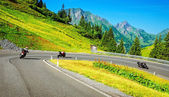 Motorbikers group in mountainous tour — Stock Photo