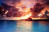 Sunset over Maldives islands — Stock Photo