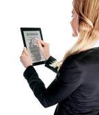 Mulher de negócios com touch pad — Fotografia Stock