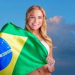 Happy fan of Brazilian football team — Stock Photo #47770799