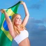 Happy fan of Brazilian football team — Stock Photo #47770801
