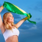 Happy fan of Brazilian football team — Stock Photo #47770835
