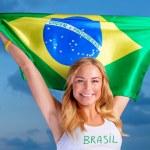 Happy fan of Brazilian football team — Stock Photo #47770843