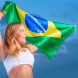 Happy fan of Brazilian football team — Stock Photo #47770847