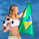 Happy fan of Brazilian football team — Stock Photo