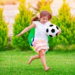 Little active football fan — Stock Photo #47978203
