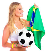 Mutlu futbol fan — Stok fotoğraf