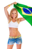 Brazilian football team supporter — Stock Photo