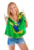 Happy football fan — Stock Photo