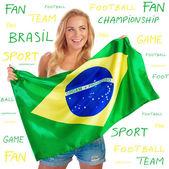 Aficionado al fútbol brasileño equipo — Foto de Stock