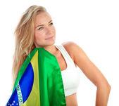 Admirer of Brazilian football team — Stock Photo
