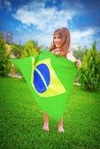 Brazilian football team fan — Stock Photo