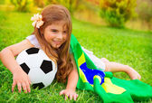 Young cheerful football fan — Stock Photo