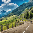 Постер, плакат: Group of bikers touring European Alps