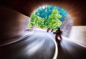 Bikers tour along Europe — Stock Photo