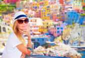Enjoying travel to Europe — Stock Photo