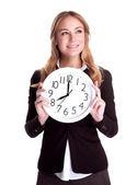 Happy woman with big clock — Stock Photo
