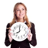 Happy woman with big clock — Stock Photo