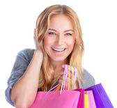 Happy girl with shopping bag — Stock Photo