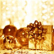 Christmas golden gift decorations — Stock Photo #8110060
