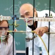 Foto de Stock  : Professor and student in laboratory