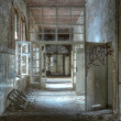 Stock Photo: Old corridor in abandoned hospital