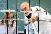 Professor and student in a laboratory — Stock Photo