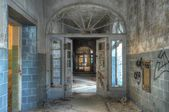 Old corridor in an abandoned hospital — Stock Photo