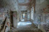 Old corridor in the sanatorium at Beelitz — Stock Photo