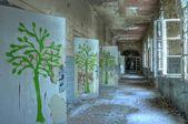 Corridor in an abandoned hospital in Beelitz — Stock Photo