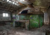 Old brewery boiler in an abandoned brewery — Stock Photo